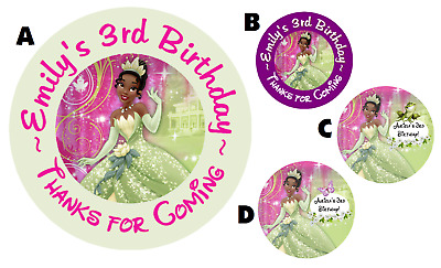 Princess And The Frog Personalized Round Labels Birthday Party Stickers Favors