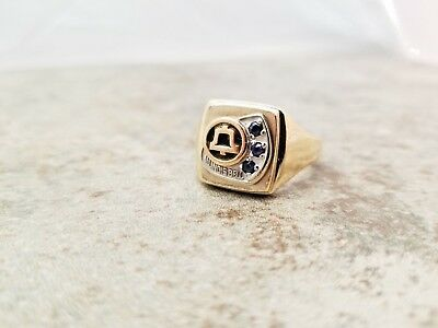 Illinois BELL TELEPHONE SYSTEMS AWARD RING 10K GOLD 12.8 GRAMS 3 Sapphires