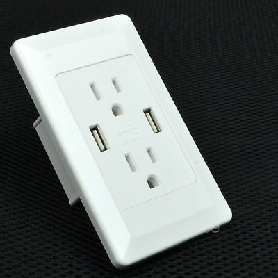 High Speed USB Charger Outlet 15 Amp TR Receptacle White