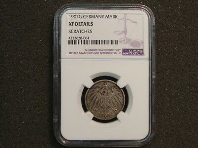 1902 G Germany 1 Mark NGC XF details - scratches
