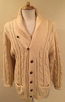 Rare VTG Preswick & Moore Beige Wool Knit Cardigan Sweater Links Chains Sz L