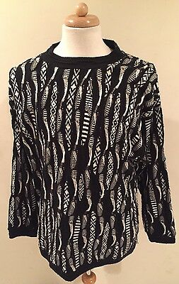 Rare VTG COOGI Australia 3D Black/White Sweater Mercerized Sz 3XL