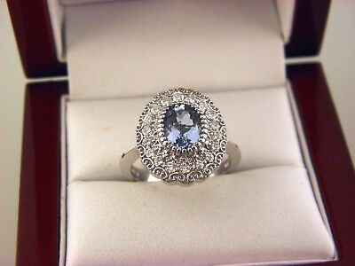 006d83ec8 AUTHENTIC EFFY BH 14K Solid White gold 7.5CT Blue Topaz And Diamond ...
