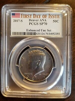 2017-S Enhanced Unc Set Kennedy Half PCGS SP70  First Day of Issue Denver ANA