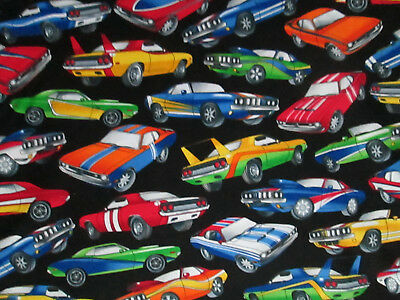 Muscle Cars Hot Rods Car Cotton Fabric Fq