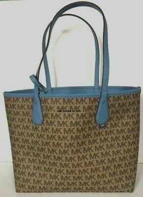 81264bfee68c New Michael Kors Candy Large Reversible Tote in Signature PVC Beige / Sky