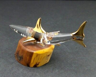 Hand Blown Glass Shark Figurine on Wood Base Gold Dipped