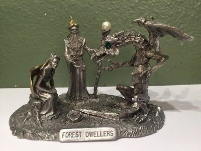 Rawcliffe Pewter Forest Dwellers Figurine Signed Dragon Wizard Fairy