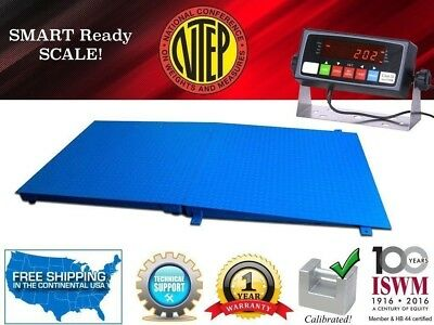 NTEP 4' x 4' (48'' x 48'') Floor Scale with a Ramp l 10,000 lbs x 2 lb
