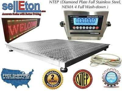 """NTEP 60"""" x 60"""" 5' x 5' Floor Scale Fixed TOP Stainless Steel Washdown 2000 lbs"""