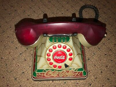 Vintage Coca Cola Tiffany Style Stained Glass Lighted Telephone