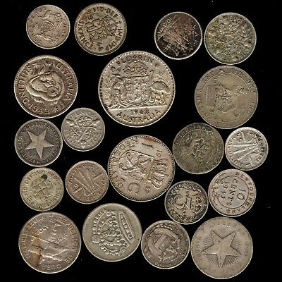 20 Silver Coin Lot - All Different Types & All Over 50 Years Old
