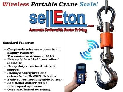 New Industrial Wireless Crane Scale 300 ft range Hanging Scale, 6000 lbs x 1 lb