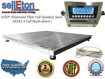 """NTEP 48"""" x 48"""" 4' x 4' Floor Scale Fixed TOP Stainless Steel Washdown 5000 lbs"""