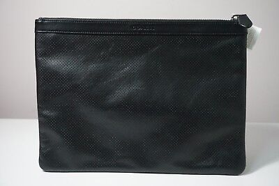Coach Black Perforated Leather Zip Top Business Portfolio Pouch F63066