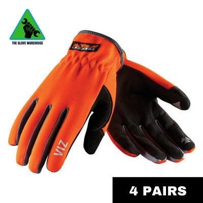 4 X Hi Vis Orange Flexible Breathable Riggers Work Garden Gloves