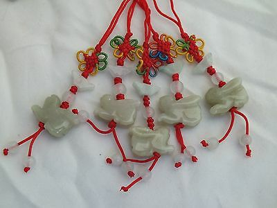 Lot of 5 Chinese Zodiac Butterfly Knot Jade Cell Phone Charm Strap Red RABBIT