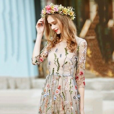 Fashion Womens Floral Embroidery Long Dress Evening Party Cocktail Maxi Dress
