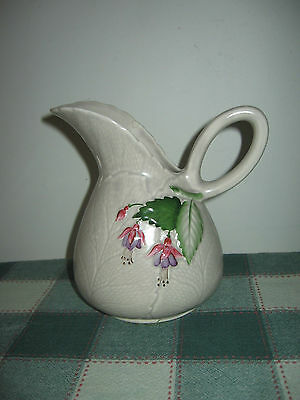Embossed FUSCHIA Leaf Jug Vase 26oz Pitcher by Crown Devon, England AS IS 6 3/4""