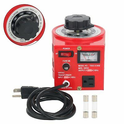TDGC-0.5KVA 500W 110V Variable AC Transformer Car Regulator 0-130V 500VA US Plug