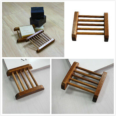 Natural Bamboo Wood Bathroom Shower Soap Tray Dish Storage Holder Plate、Pop