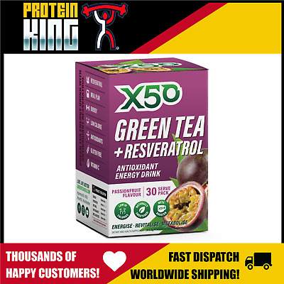 Green Tea X50 30 Serve Passionfruit Fat Burner Antioxidant Energy Drink Tribeca