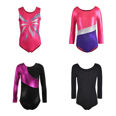 4-14Y Kids Girls Ballet Dancewear Gymnastics Leotards Dance Skating Costumes AU