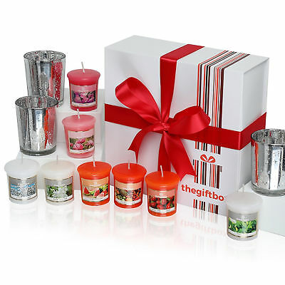Scented Candle Gift Set- 8 Scented Candles & 3 Metallic Glass Candle-Moonmist