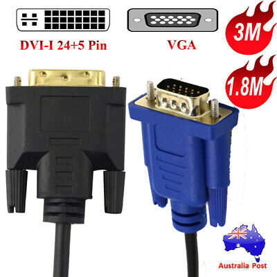 DVI-I to VGA Video Converter Adapter Cable For TFT Monitor TV LCD Laptop 1.8M 3M