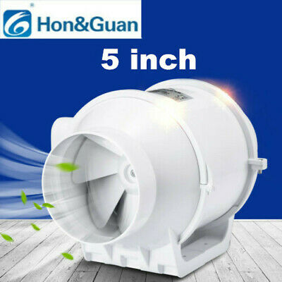 5'' Inline Duct Fan Hydroponic Bathroom Extractor Booster Vetilation Blower Fan