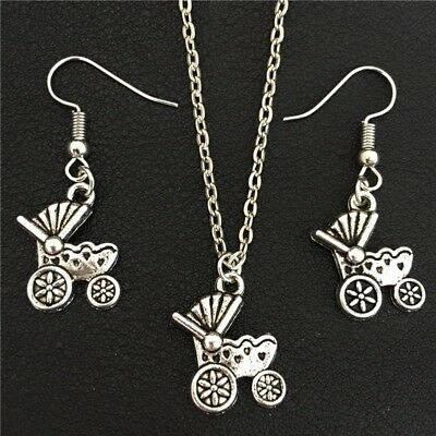 Vintage Antique Silver Baby Carriage Necklace Drop Earrings Set for Women Girls