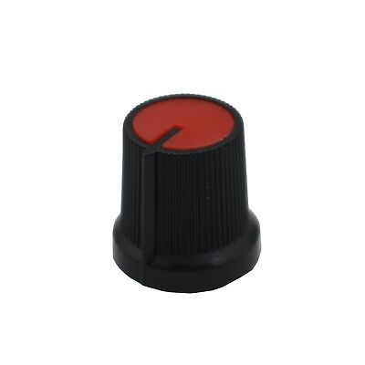 50PCS Red Face Plastic for Rotary Taper Potentiometer Hole 6mm Black Knob New