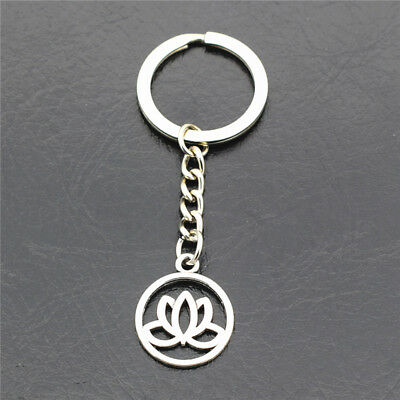 Antique Silver Lotus Flower Pendant Keychains Key Ring Key Chains for Women men
