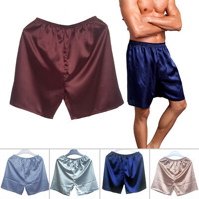 Mens Sleepwear Underwear Silk Satin Boxers Shorts Nightwear Pyjamas L XL 2XL 3XL