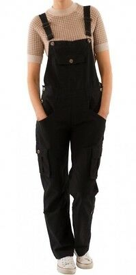 Women's Black Cotton Dungarees Loose Fit  Roll-up leg Overalls