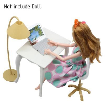 Barbie Doll Play House Doll Furniture Desk Lamp Laptop Chair Accessories Set Hot