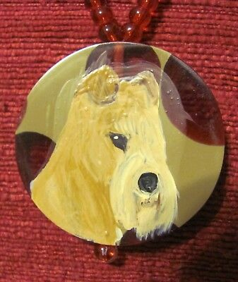 Lakeland Terrier hand painted on round composite pendandt/bead/necklace