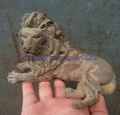 Chinese Qing Dynasty Archaic Bronze Statue Lion Foo Dog Carvings