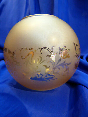 GLOBE DE LAMPE A PETROLE EN VERRE SATINE & DECOR . H 114 mm D 61 mm. REF 5042