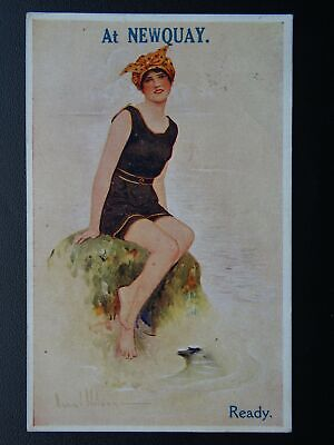 Cornwall AT NEWQUAY Ready! BATHING BEAUTY - Artist Wilson c1919 Postcard