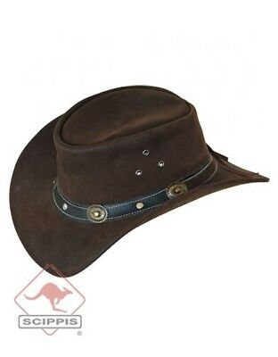 Scippis Rugged Earth Leather Children's Cowboy Hat Black or Brown of Wrist Strap