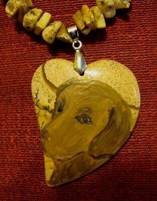 Chesapeake Bay Retriever hand painted  Picture Jasper pendant/bead/necklace
