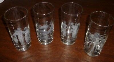 Norman Rockwell Drinking Glasses Sporting Boys Vintage Tumblers SET of 4