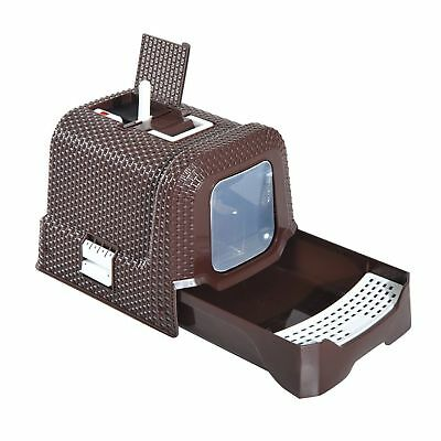 Hooded Cat Litter Tray Scoop Brown Large Litter Pan Box Fully Enclosed Plastic