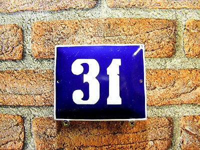 Vintage Sign House Door Number 31, Blue and White Enamel Metal Plate Authentic
