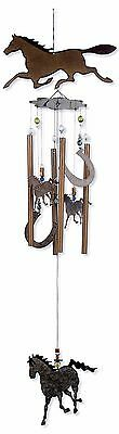 """36"""" Horse Metal Wind Chime Garden Rustic Hand Painted Horseshoes Western New"""