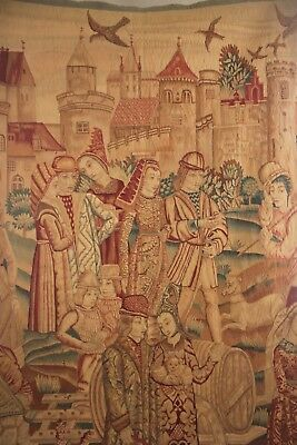 Antique Tapestry hand knotted Flemish 19th hanging  medieval scene wool textile