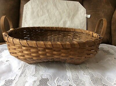Unique Large Vintage Hand Woven Curved Bottom Splint Gathering Basket. Dark wood