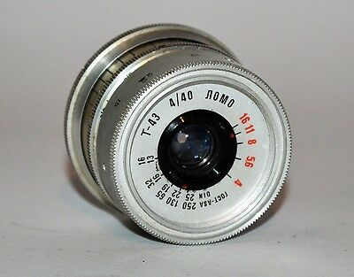 HAND MADE M39 mount USSR SILVER LOMO T-43 f4/40 LENS from SMENA-8m, MULTILISTING