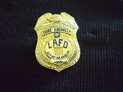 Los Angeles  Fire Dept. Chief Engineer Gold  Mini-Badge / Lapel Pin